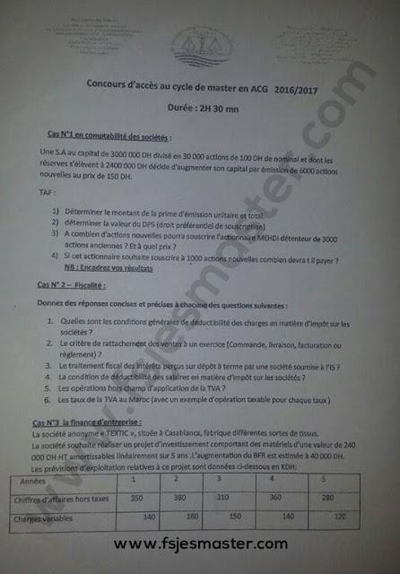 Exemple de Concours Master Audit et Contrôle de Gestion (ACG) 2016-2017 - Fsjes Mohammedia