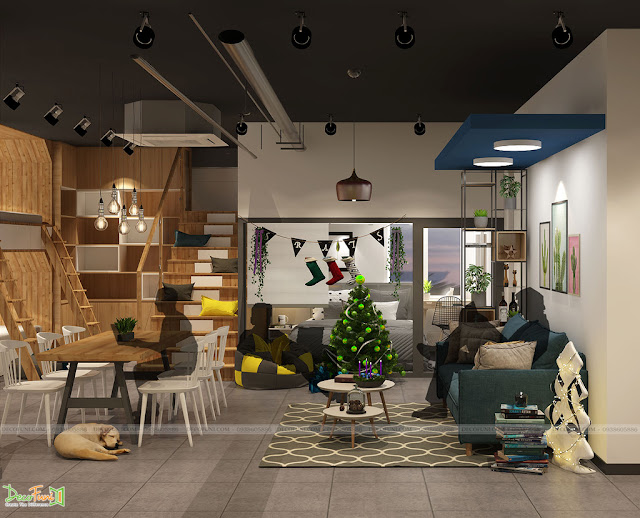 Khu vực làm việc thoải mái, không gò bó giúp nhân viên vừa thư giản vừa làm việc, tăng tính sáng tạo - Thiết kế và thi công nội thất căn hộ chung cư Officetel
