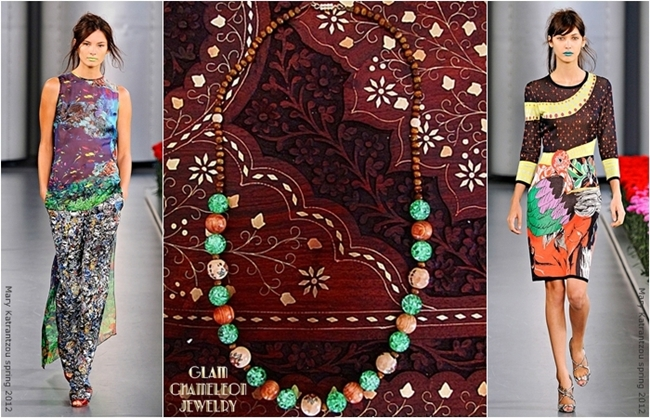 Glam Chameleon Jewelry tiger eye wood glass beads necklace