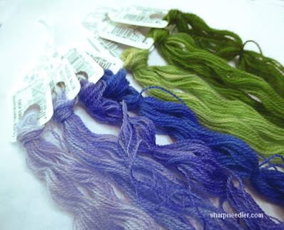Selections from Daisies crewel wool: jacaranda and rainforest