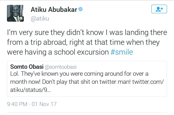 Atiku Abubakar replies Twitter user who kinda insinuated that the