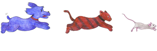 Dog Cat and Mouse chase watercolor paintings by Kim W. Nolan