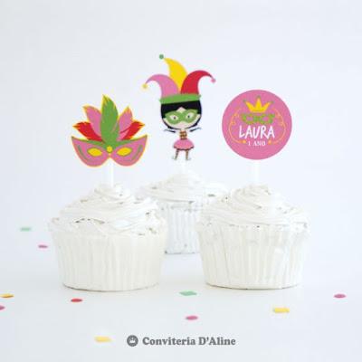 carnaval topper cupcake doce personalizado decoracao