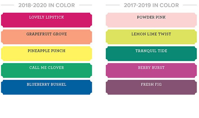 This image shows the In Color colour collection by Stampin' Up! for years 2016-2018 and 2018-2020.