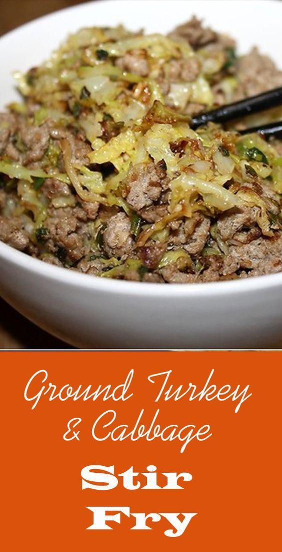 Healthy Ground Turkey & Cabbage Stir-Fry