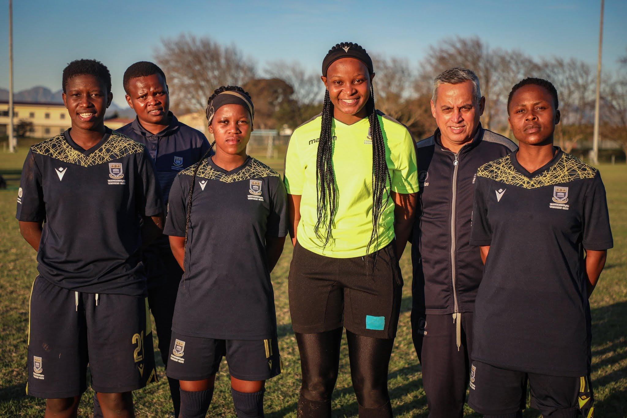 UWC head coach Thinasonke Mbuli with her Banyana Banyana players