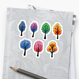 colorful tree stickers