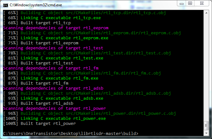 Compile librtlsdr on Windows - cmd screenshot