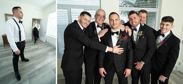 Groom with groomsmen getting ready
