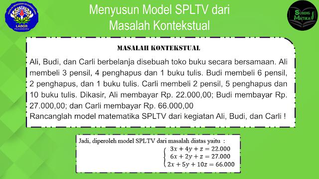 Menyusun Model SPLTV dari Masalah Kontekstual