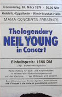 Eintrittskarte Neil Young 1976 in Eppelheim