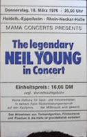 Eintrittskarte Neil Young 1976 in Eppelheim