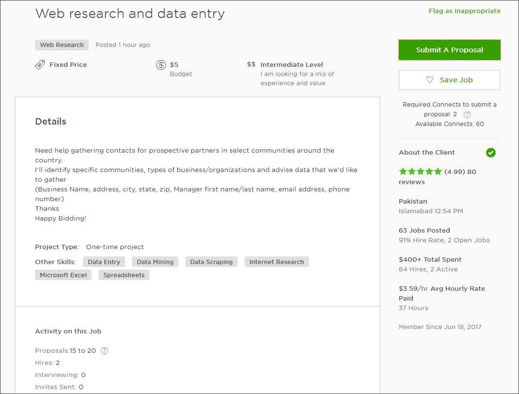 upwork cover letter for data entry