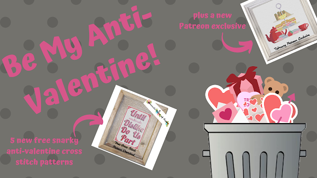 Five Free Anit-Valentine Cross Stitch Patterns.