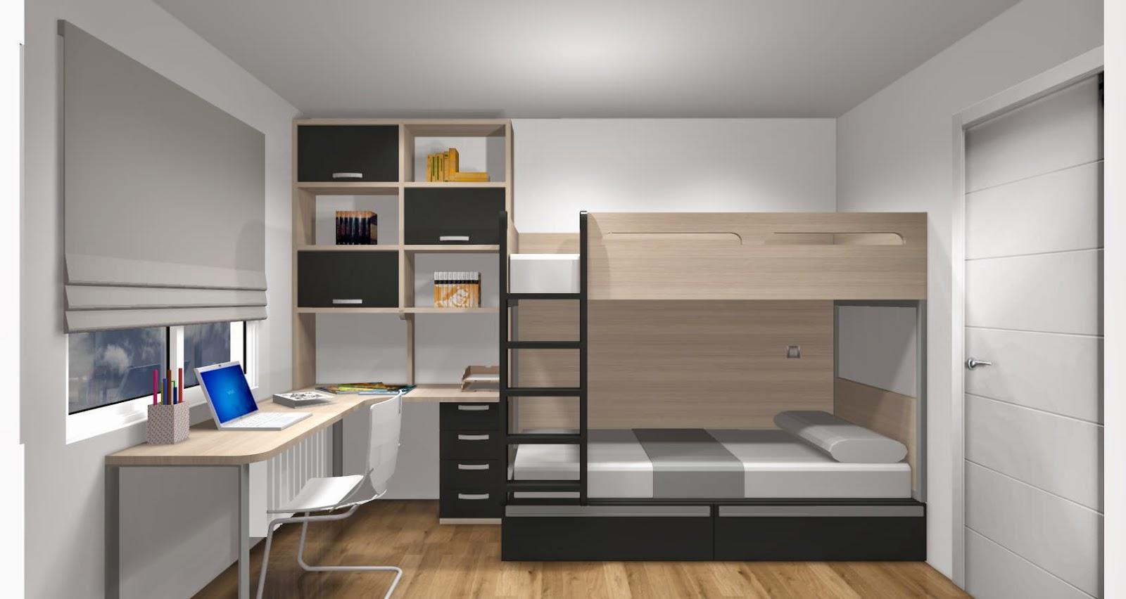 Dise o de cuartos o dormitorios juveniles for Habitaciones para ninas con literas