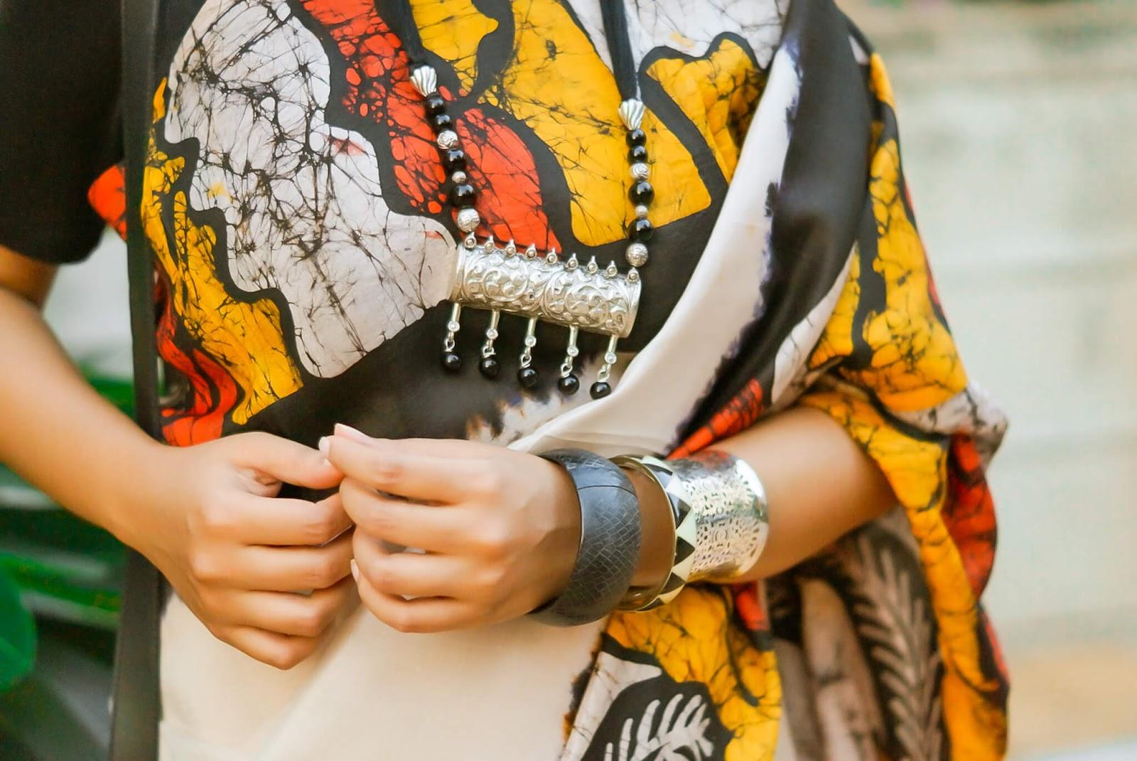 saree as work wear, wear saree to office , batik saree