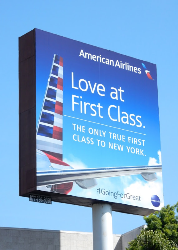 American Airlines Love at First Class billboard