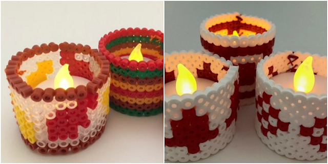 Hama bead candle holders