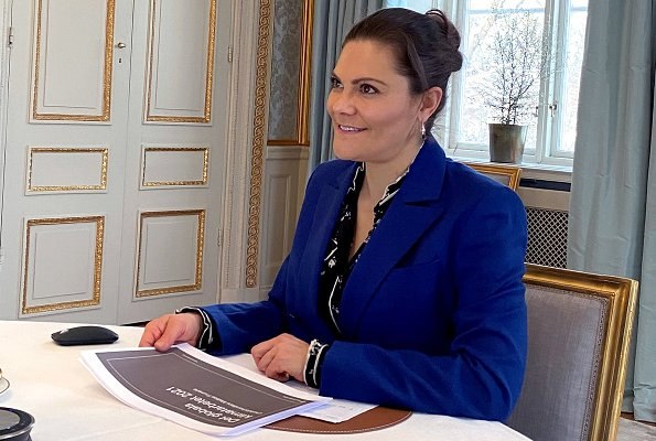 Crown Princess Victoria wore a zoe navy blazer and darcel navy trousers from Rodebjer, and a print blouse from Erdem x H&M collection