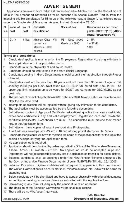 Directorate of Museums Assam Recruitment 2020