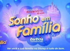 Promoção Barbosa Supermercados 43 Anos 5 Viagens Disney e 25 Mil Vales-Compras