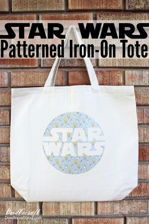 Star Wars Cricut Patterned Iron-on Tote Bag!  Fill the tote with packaged popcorn, movie box candy, some soda and a couple of movie tickets for the perfect Star Wars themed Christmas gift!