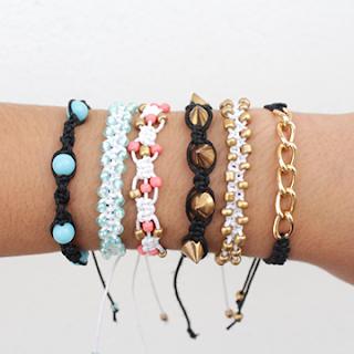 5 different square knot friendship bracelets