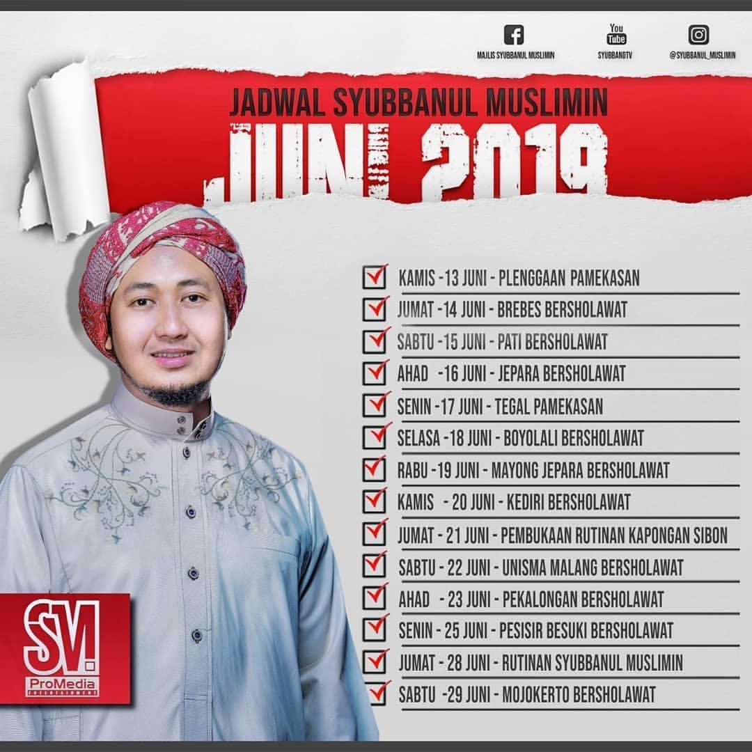 Jadwal Majlis Syubbanul Muslimin Juni 2019