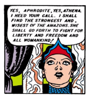 "All-Star Comics (1940) #8 Page 66 Panel 2: Hippolyta accepts the mission from the Goddesses to find the best Wonder Woman ""to fight for liberty and freedom and for all womankind."""