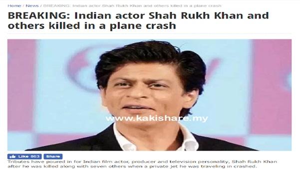 GEMPAR Shah Rukh Khan Meninggal Dunia Dalam Nahas Pesawat Peribadi ??
