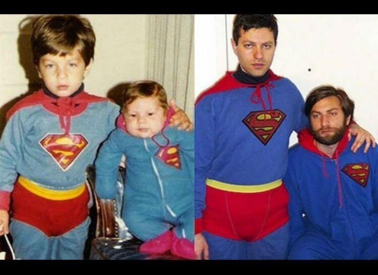 20 Hilarious Before And After Pictures Made By Adults Who Reminisced Their Childhood Years - The tiny superheroes have grown up.