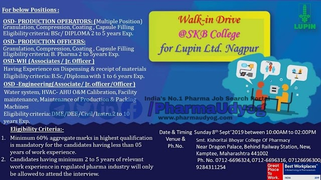 Lupin | Walk-in for Production- Engineering - Warehouse | 8 September 2019 | Nagpur