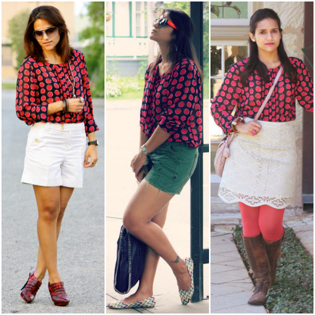 Three Ways To Style A Polka Dot Blouse, Tanvii.com