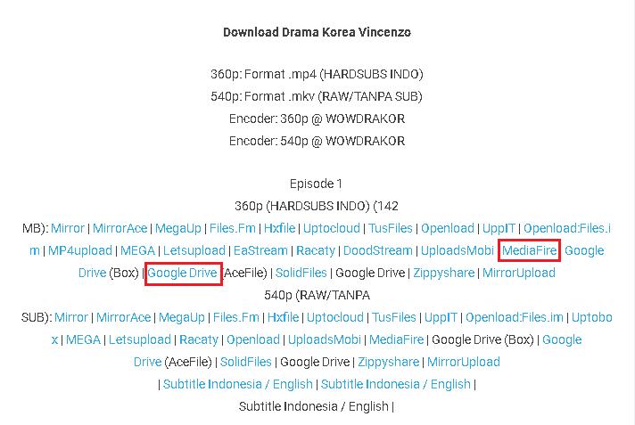 Download drama korea vincenzo sub indo