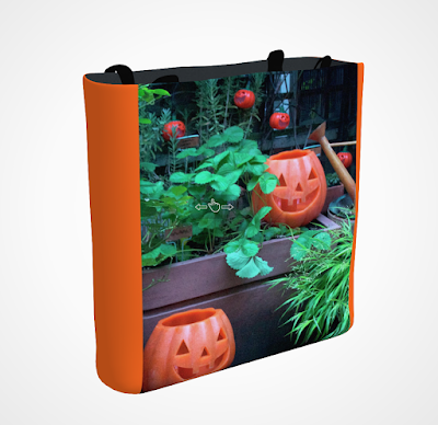 "This screen-shot features an orange tote/bag/pouch which has an image imprinted on it. The picture was taken in my garden when decorated for Halloween. It shows Jack-O-Lantern themed outdoor lights hanging on a wooden trellis and two medium ones ""sitting"" below them. These two are made of wax. All the Jack-O-Lanterns in this image appear to be laughing. The tote/bag/pouch is available in three sizes (13"" by 13"", 16"" by 16"" and 18"" by 18"") and can be purchased via Fine Art America @ https://fineartamerica.com/featured/laughing-jackolanterns-patricia-youngquist.html?product=tote-bag"