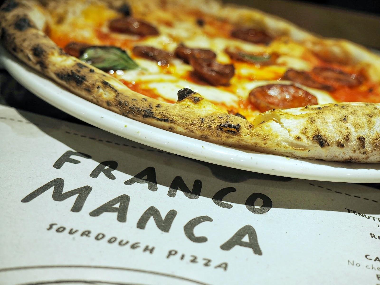 Franco Manca sourdough  Neapolitan Chorizo pizza.