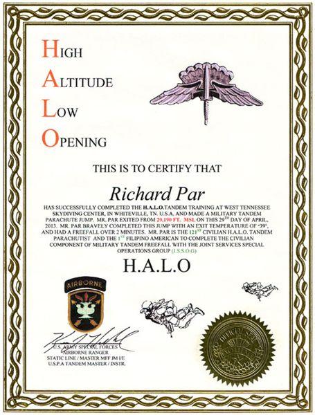 My HALO Jump certificate.
