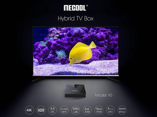 Box Hibrida Mecool KM5 a grande preço em Espanha