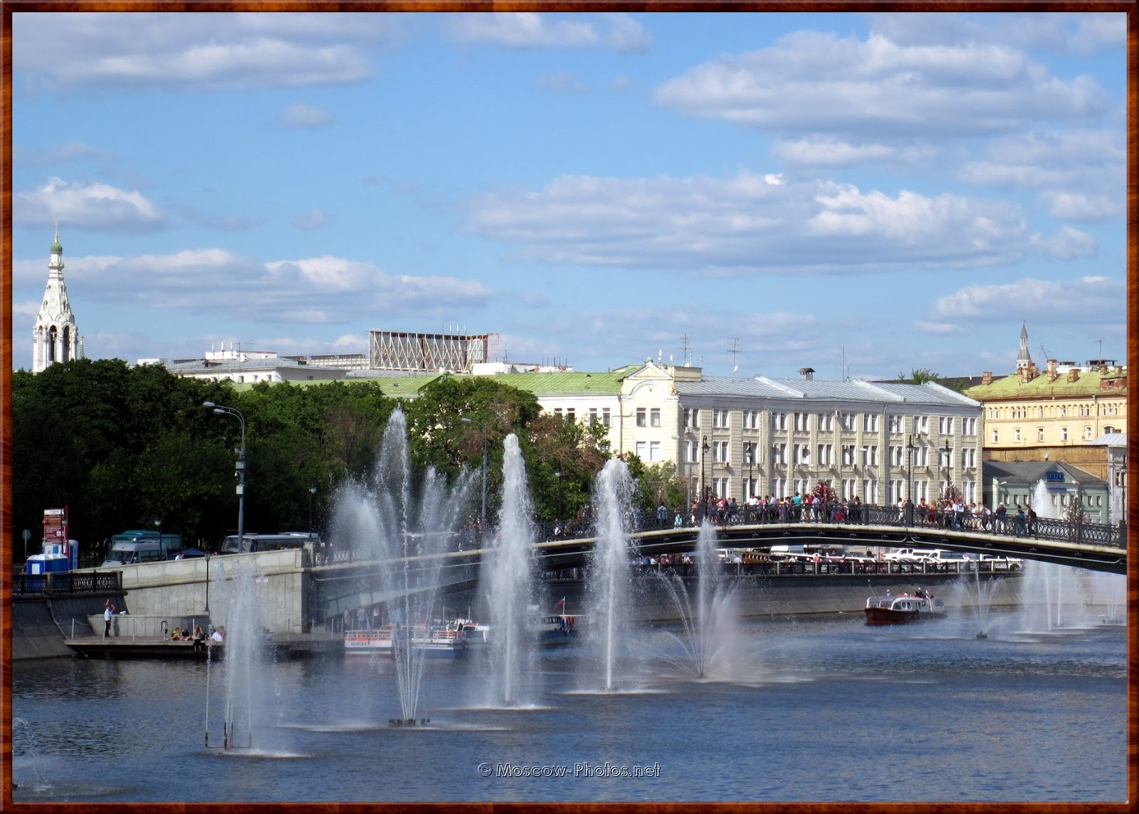 View on Drainage channel and fountains in Moscow