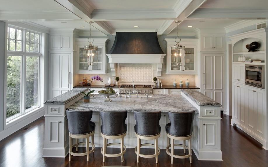 home design all white kitchen black accents