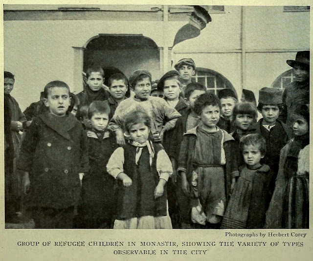 GROUP OF REFUGEE CHILDREN IN MONASTIR, SHOWING THE VARIETY OF TYPES OBSERVABLE IN THE CITY