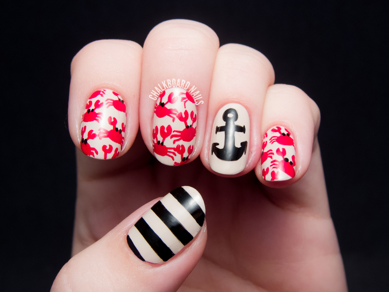 Crab Print and Nautical Mix by @chalkboardnails