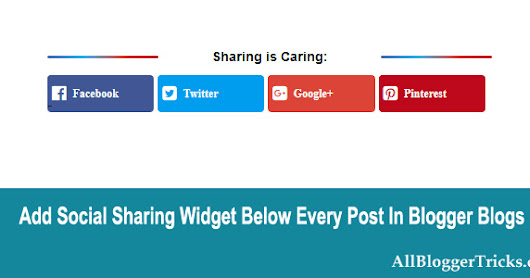 Add Cute Social Sharing Buttons Below Every Post on Blogger Blogs