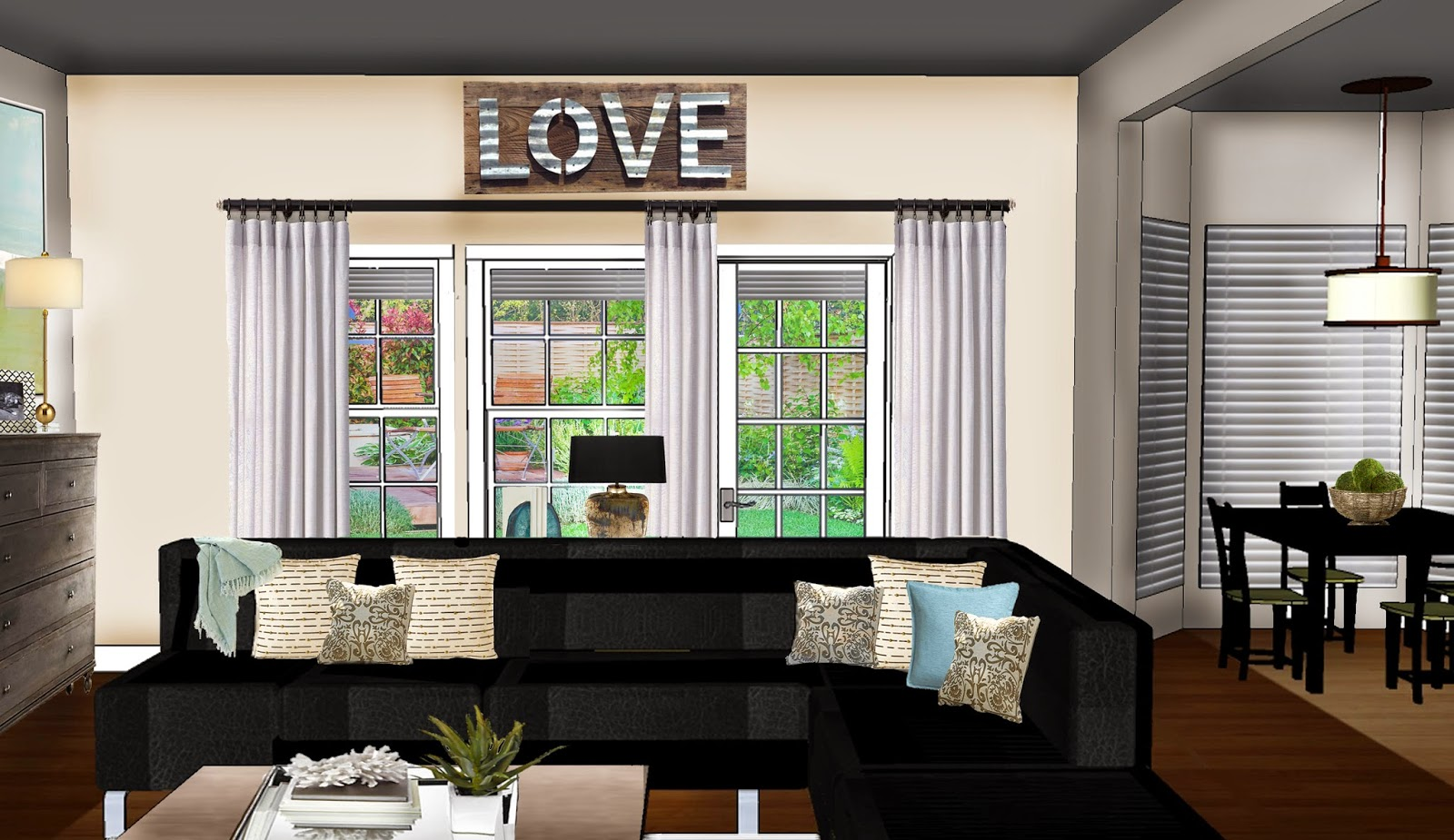 And This Is The Elevation Facing Backyard Showing Proposed Linen Curtains With A Very Cool Vintage Reclaimed Wood LOVE Sign Above