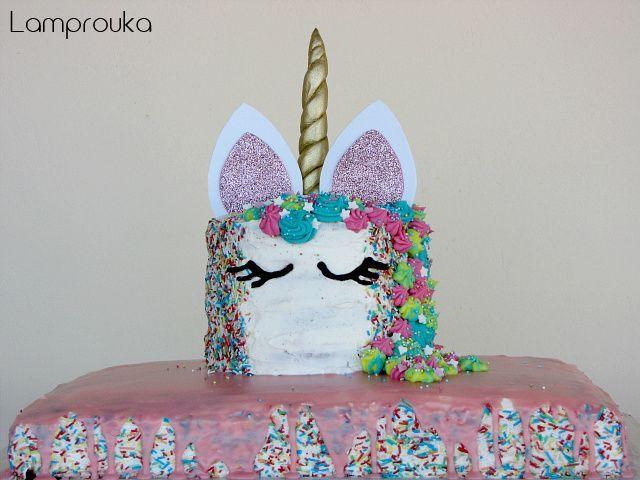 διώροφη τούρτα γενεθλίων μονόκερος