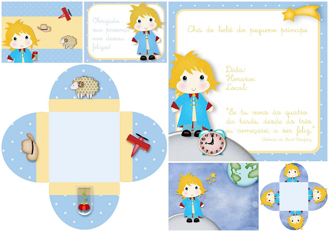 Sweet Little Prince Free Printable Invitations and Boxes.