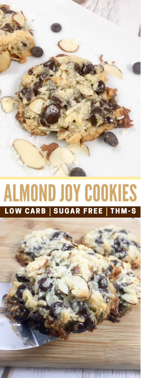 Almond Joy Cookies {Low Carb, Sugar Free, THM-S} #diet #healthydessert