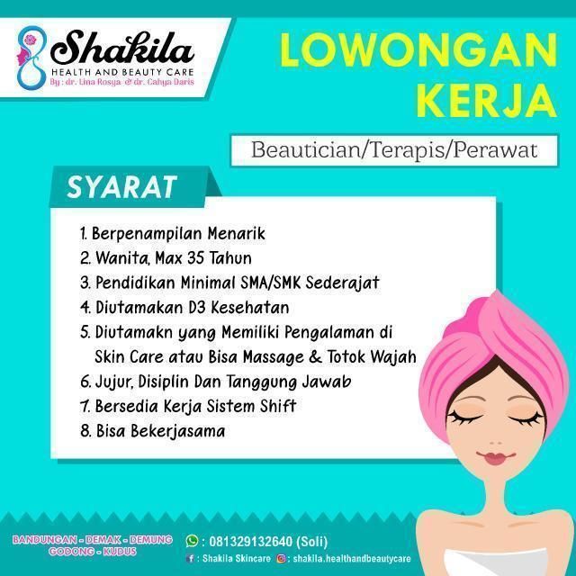 Shakila Health and Beauty Care Membuka Lowongan Kerja Sebagai Beautician