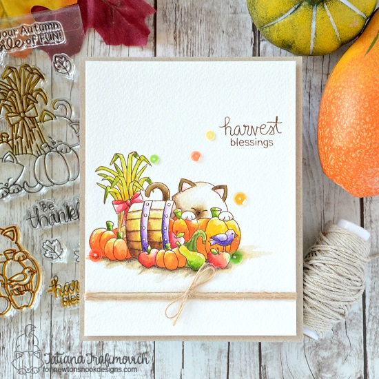 Fall Harvest cat card by Tatiana Trafimovich | Autumn Newton Stamp Set by Newton's Nook Designs #newtonsnook #handmade