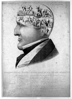 Black and white drawing of a man's head in profile, text identifies Robert Peel as the subject. The skull area is divided into ten sections depicting satirized personal qualities. Full text interpreting the image available at http://catalogue.wellcomelibrary.org/record=b1161745